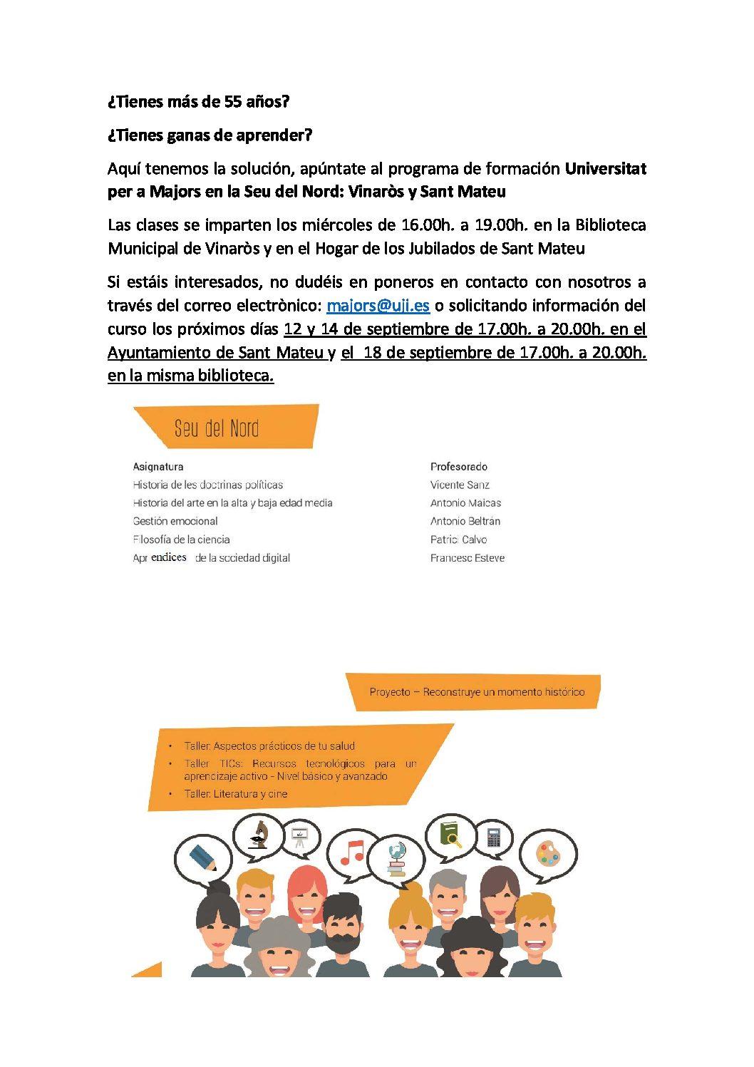 La UJI oferirà els curs d'Humanitats i Socials a les seus de Vinaròs i Sant Mateu