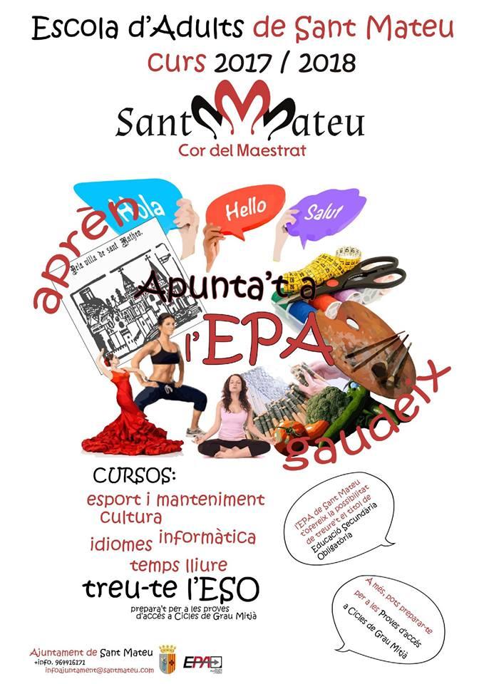 Sant Mateu, segueixen obertes les inscripcions per a l'Escola Permanent d'Adults