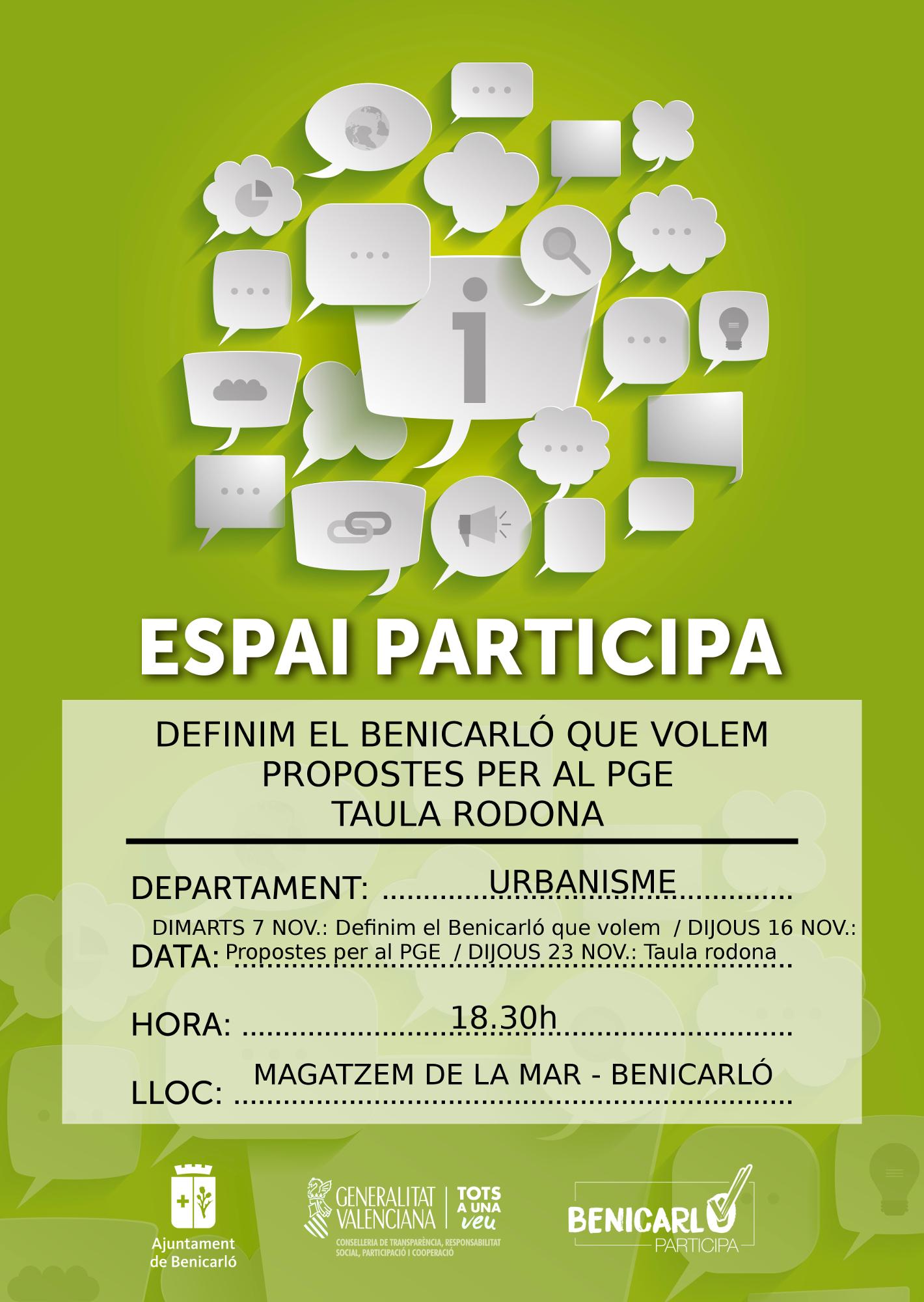 Benicarló, continua obert el procés de participació ciutadana del Pla General Estructural