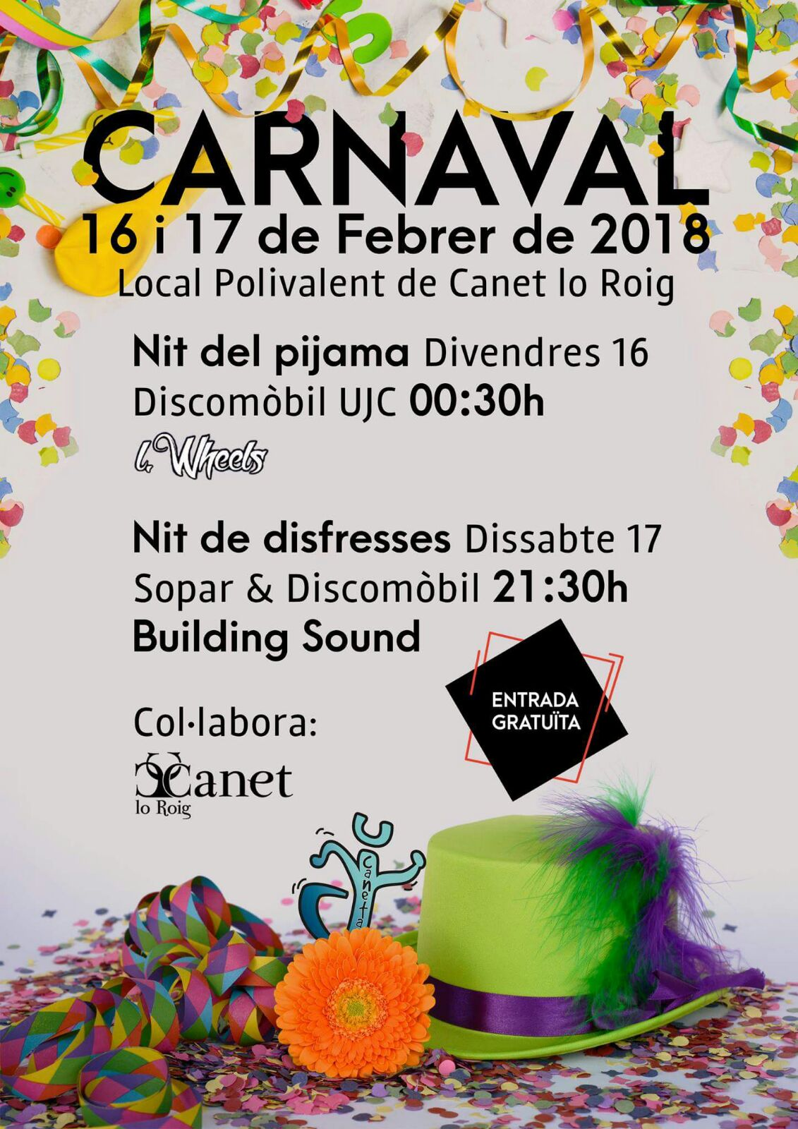 Canet lo Roig celebrarà aquest cap de setmana el Carnaval 2018