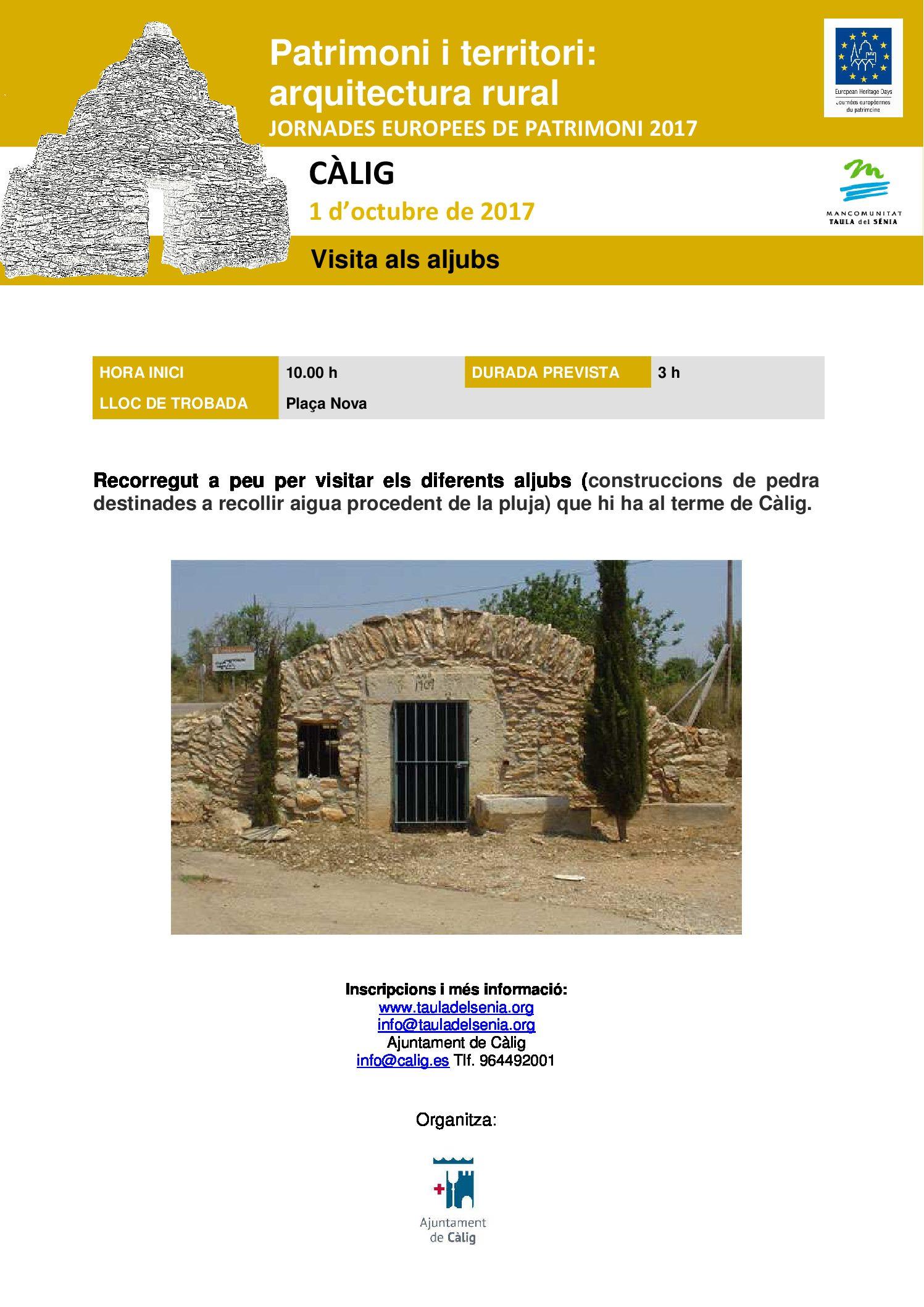 Càlig, participarà de les Jornades Europees del Patrimoni amb una visita guiada l'1 d'octubre