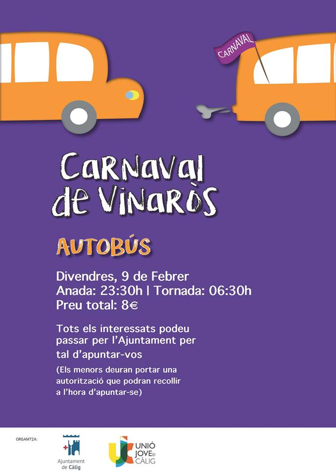 Càlig habilitarà divendres un bus al Carnaval de Vinaròs