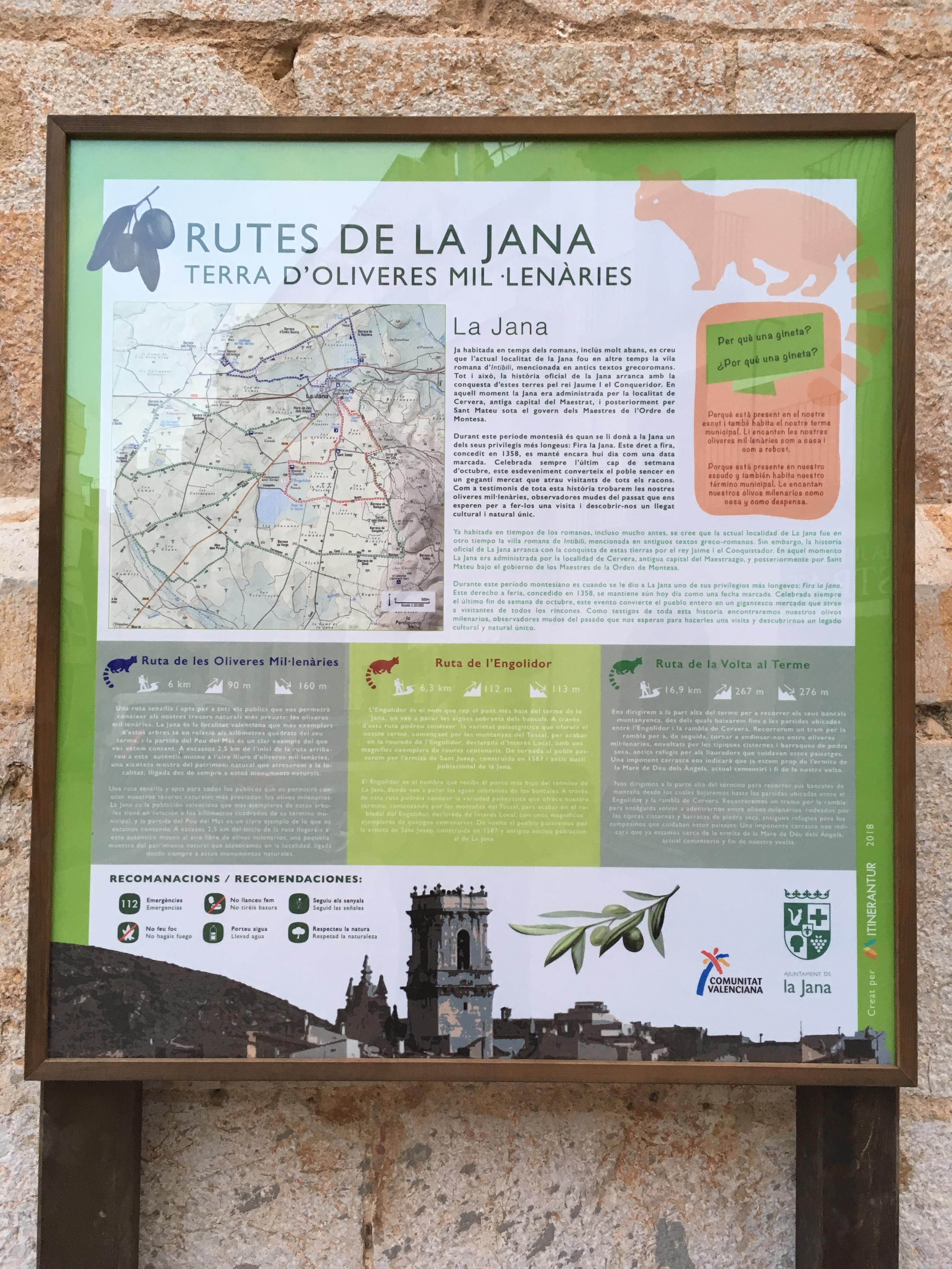 La Jana senyalitza tres rutes turístiques a les oliveres mil·lenàries, la roureda de l'Engolidor i la Volta al Terme
