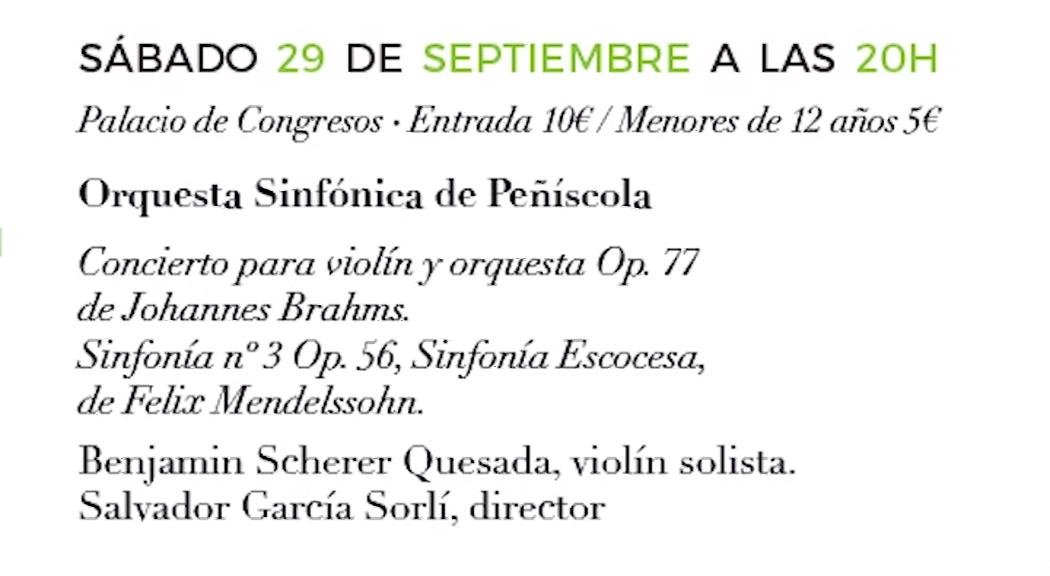 Peníscola, dissabte es tancarà el Cicle de Concerts de Música Clàssica amb l'actuació de l'Orquestra Simfònica