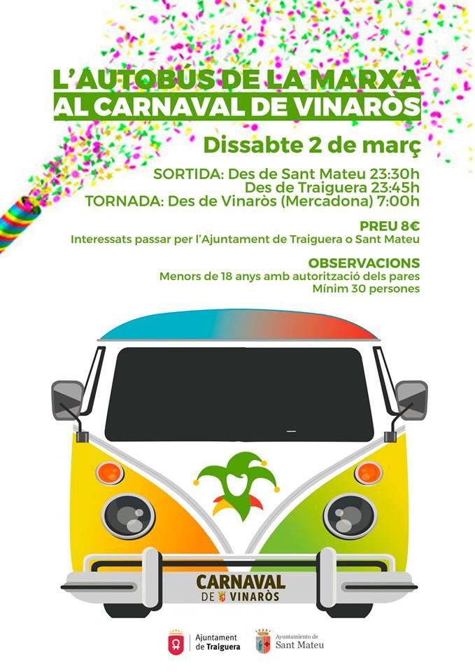 Traiguera i Sant Mateu facilitaran un autobús fins al Carnaval de Vinaròs