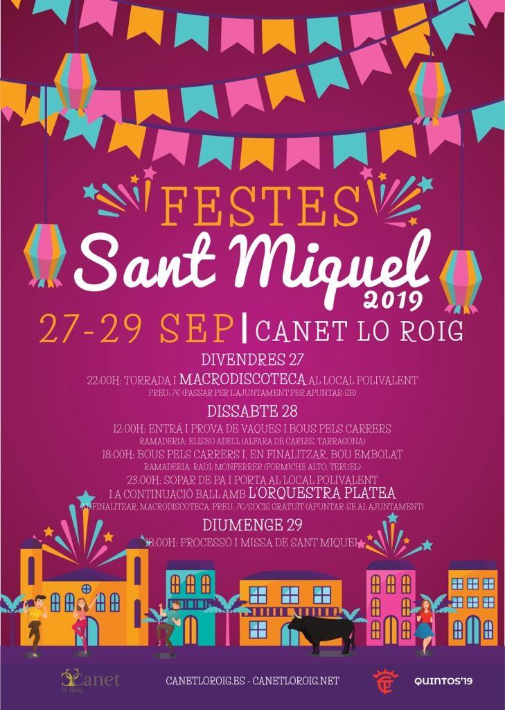 Canet acomiadarà l'estiu amb les festes en honor a Sant Miquel