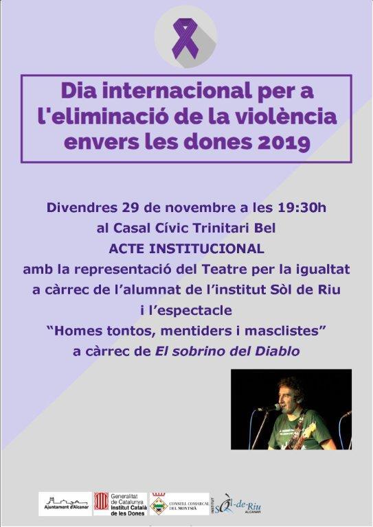 Alcanar; 29 de novembre: acte central institucional de commemoració del Dia internacional per a l'eliminació de la violència envers les dones