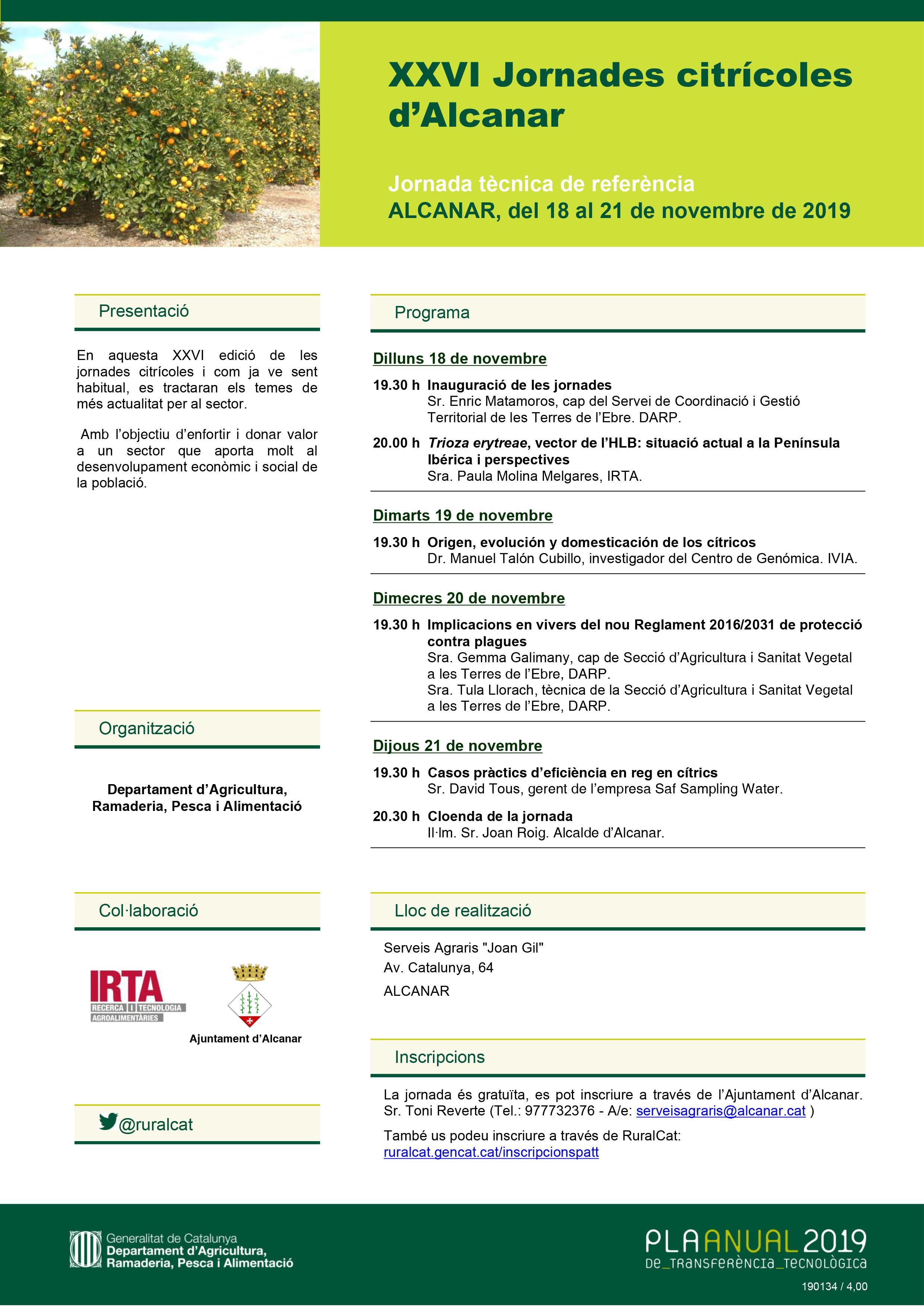 Alcanar; Celebració de les XXVI Jornades citrícoles d'Alcanar