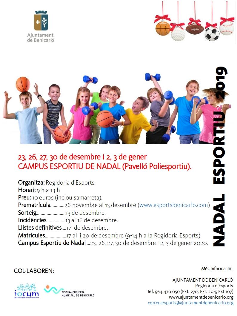 Benicarló; Esports organitza un Campus de Nadal per a ajudar a conciliar la vida familiar i laboral