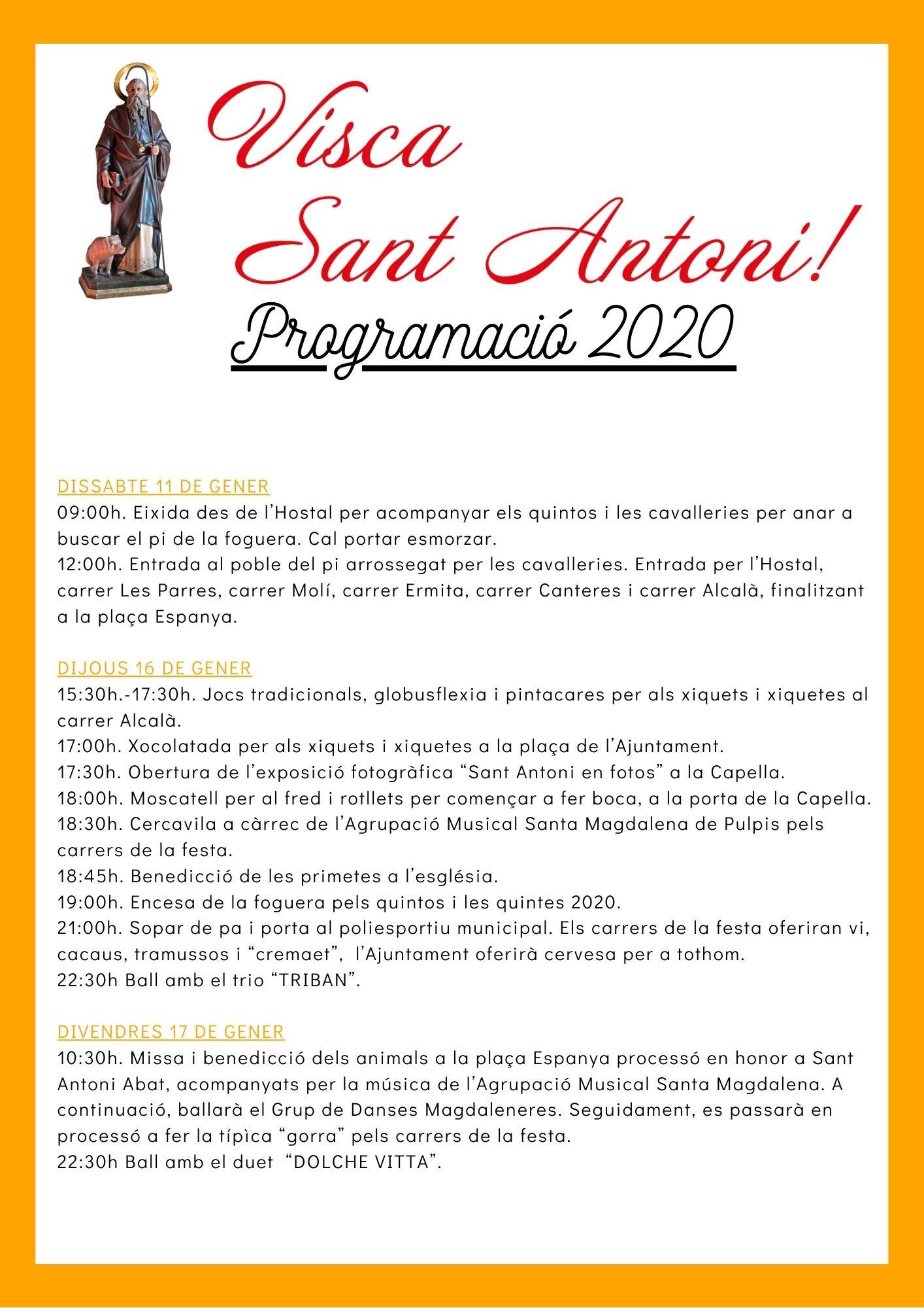 Els Majorals i Majorales de Santa Magdalena presenten la programació de Sant Antoni