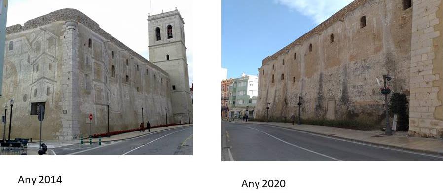 L'Associació Cultural Amics de Vinaròs demana la restauració urgent de les pintures murals de les façanes de l'Arxiprestal