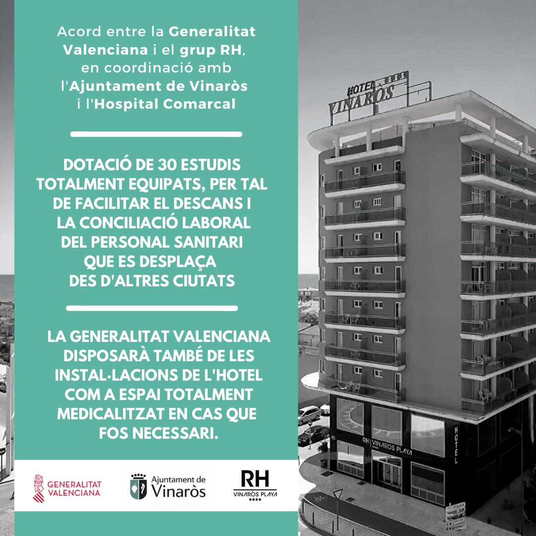 Hoteles RH a Vinaròs facilitarà estudis per als sanitaris
