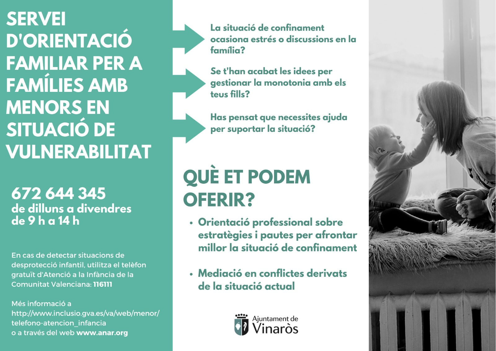 L'Ajuntament de Vinaròs activa el Servei d'Orientació Familiar