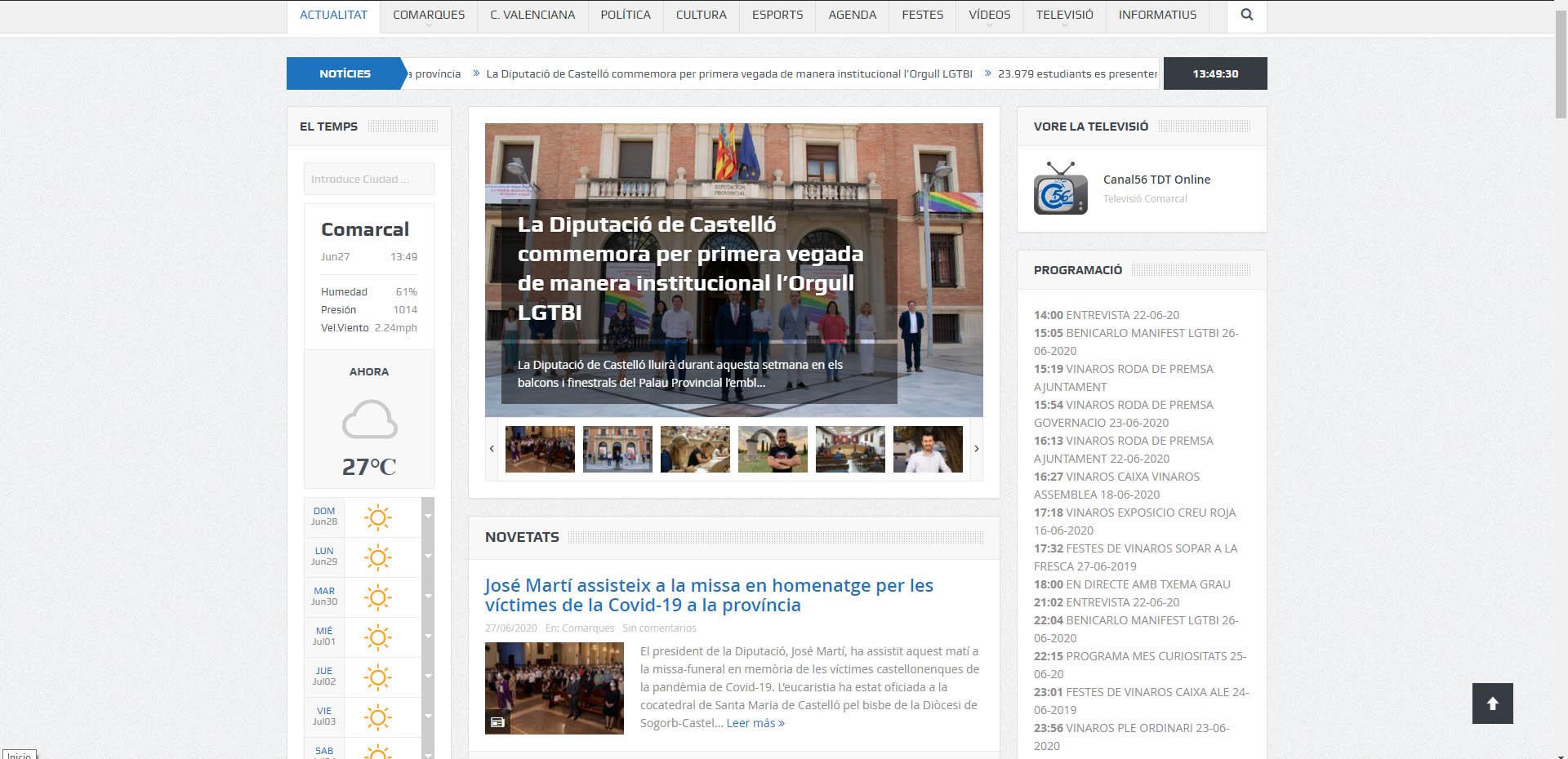 La web canal56.com ofereix en temps real la programació de la 'tele'
