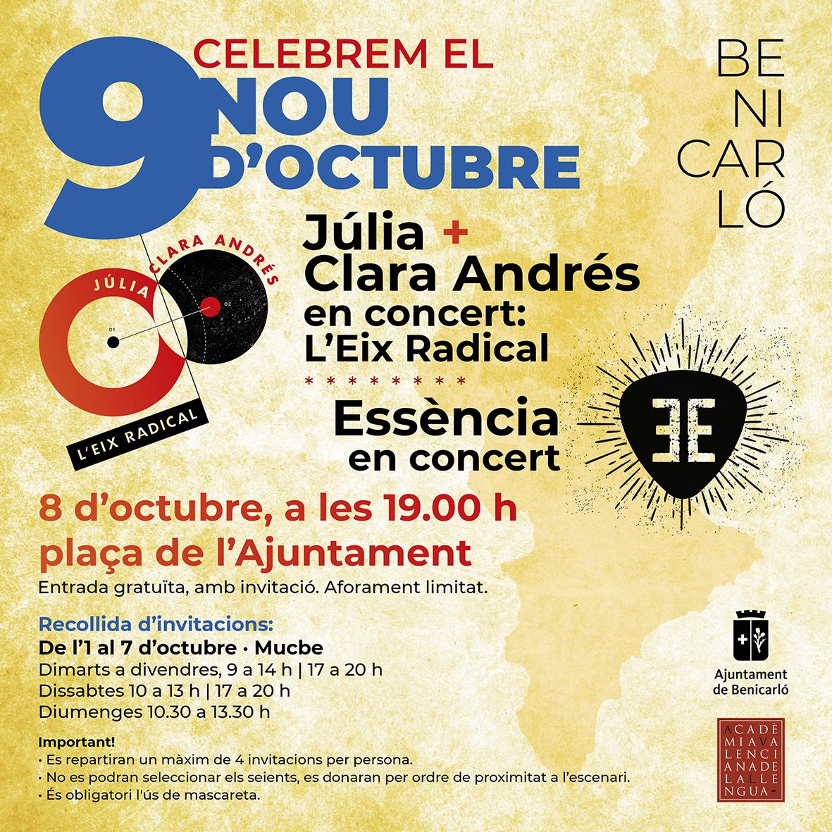 La música de Júlia, Clara Andrés i Essència centrarà els actes del Nou d'Octubre a Benicarló