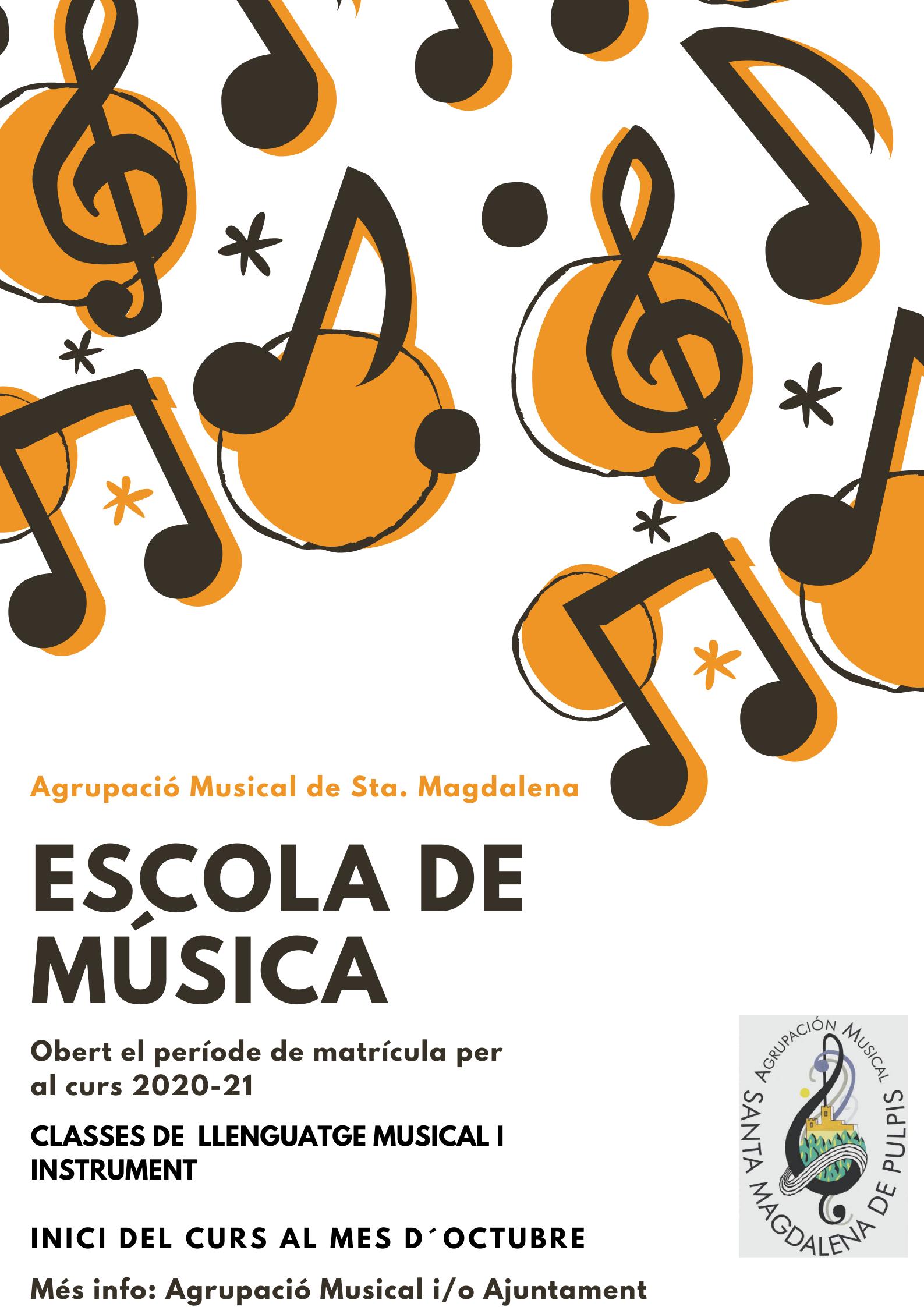 Oberta la matrícula per a l'Escola de Música de Santa Magdalena