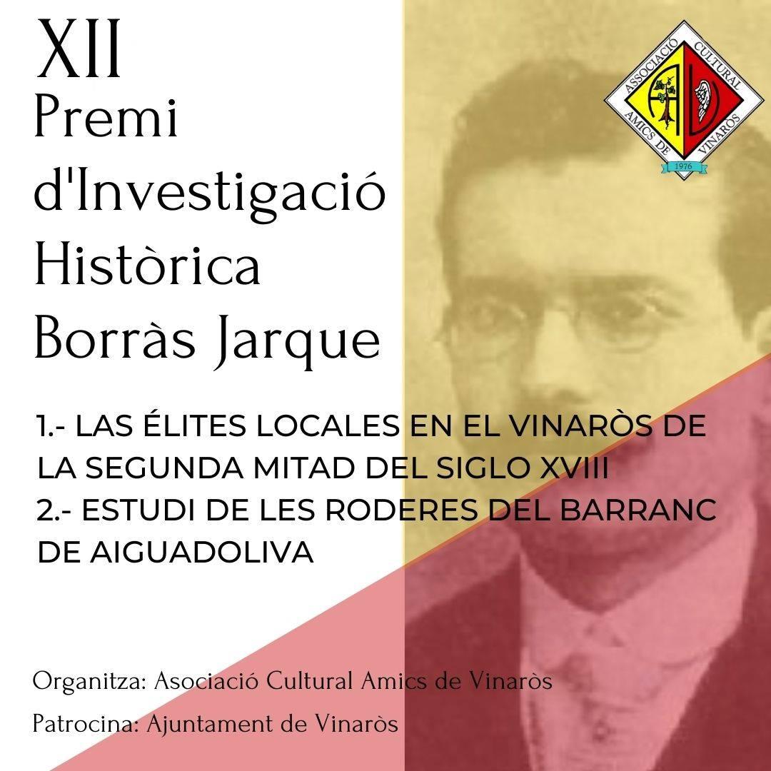 Al XII Premi d'Investigació Històrica Borràs Jarque de Vinaròs opten dos obres
