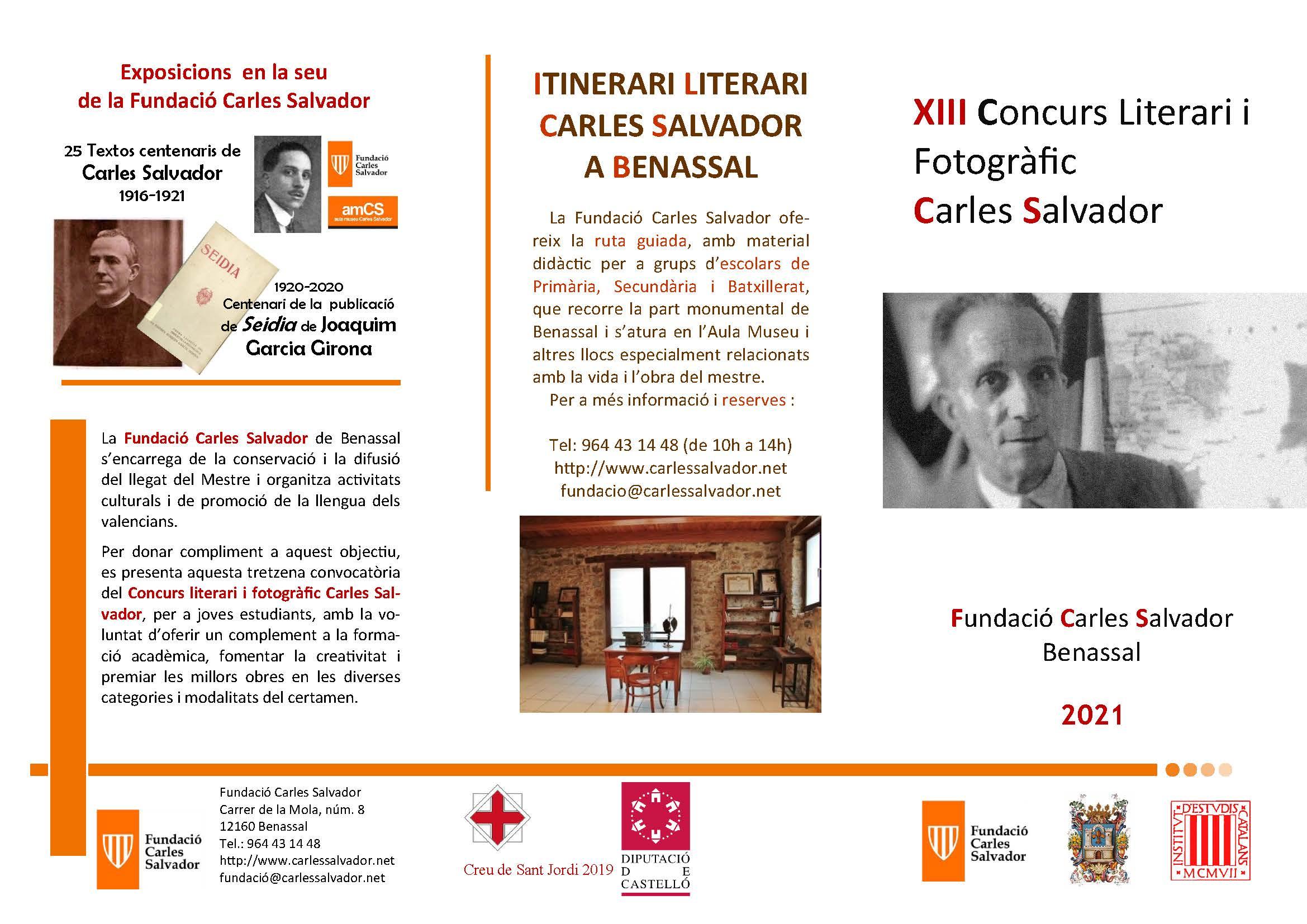 Obert el termini de participació de la tretzena edició del Concurs Literari i Fotogràfic Carles Salvador