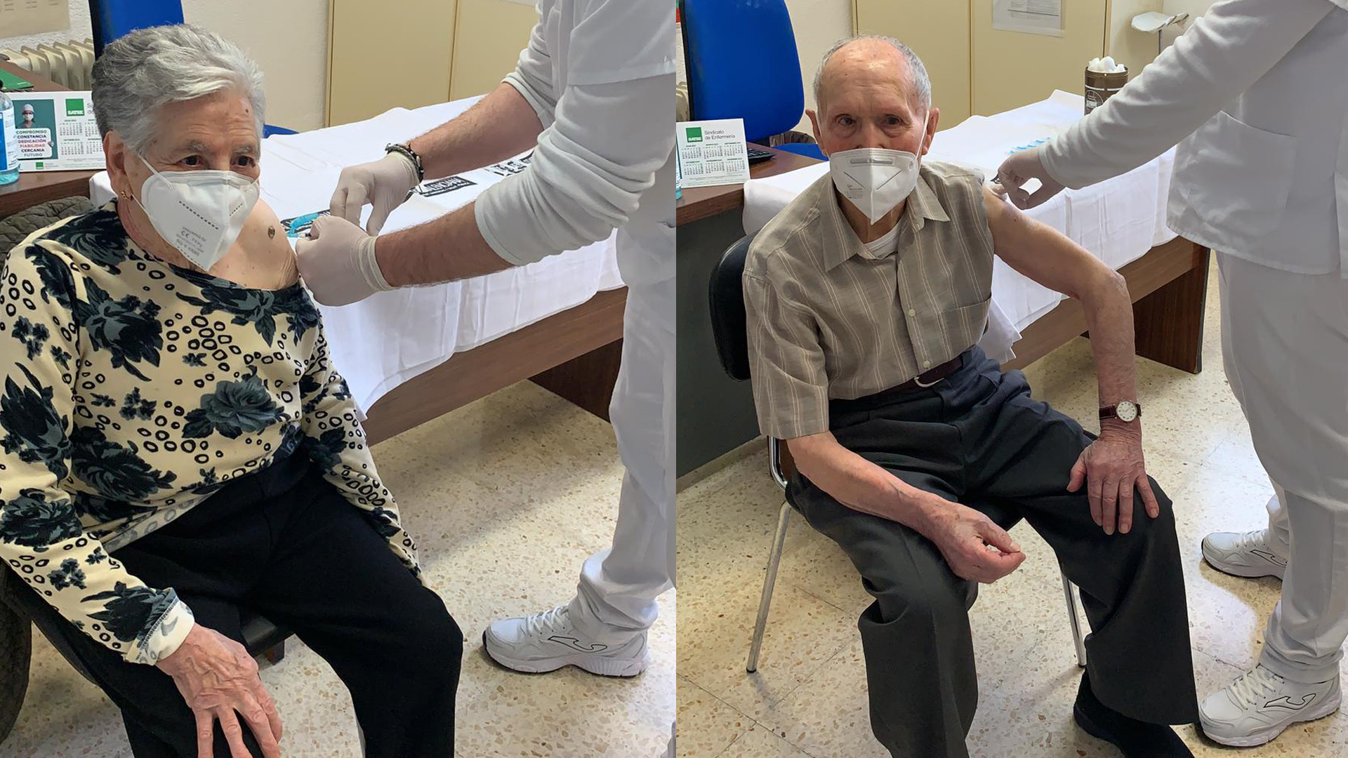 Raimundo i Ángeles, de 101 i 98 anys, dels primers a rebre la vacuna contra la Covid-19 en el Centre de Salut de Sant Mateu