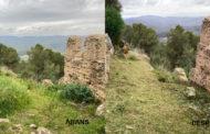 La Diputació neteja i esbrossa el Castell de Santa Magdalena