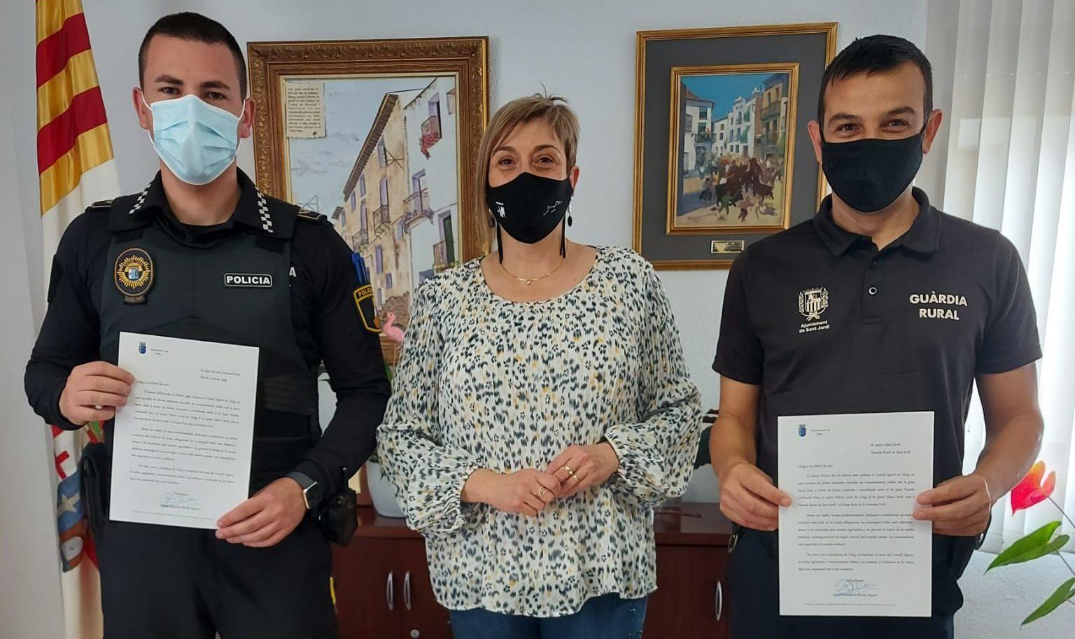 Càlig reconeix el treball contra els robatoris al camp del Policia Local, Guàrdia Rural i Guàrdia Civil