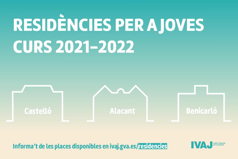 L'IVAJconvoca places en residències d'estudiants d'Alacant, Benicarló i Castelló per al curs 2021-2022